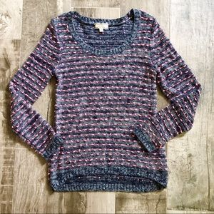 Pink Rose Striped Crew Neck Sweater in Navy & Pink